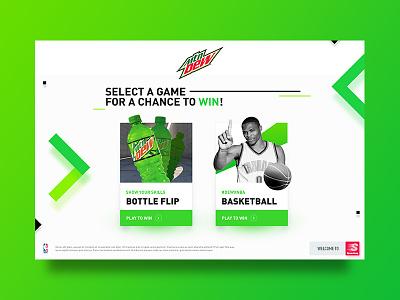 Mountain Dew Game application bottle nba basketball pop soda mountain dew game