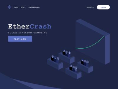 EtherCrash illustration gambling landing page ethereum