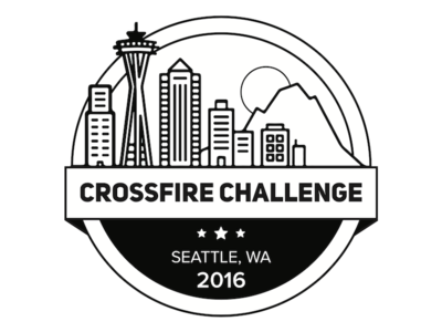 Crossfire Challenge Logo Design bw badge graphic design design logo football sports crossfire