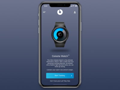 Ziiiro Celeste App Concept sleek clean tracker watch minimal design ux ui