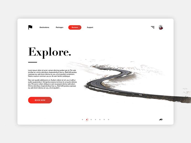 Explore - Minimal Website Design user graphic sleek simple clean minimal ux ui design website
