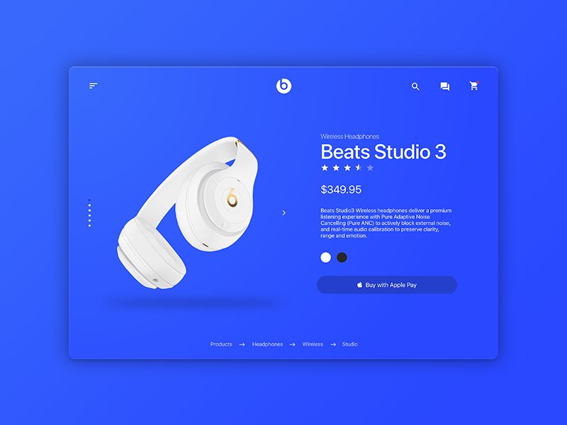 Beats Product Page Redesign redesign headphones light beats minimal website design ux ui