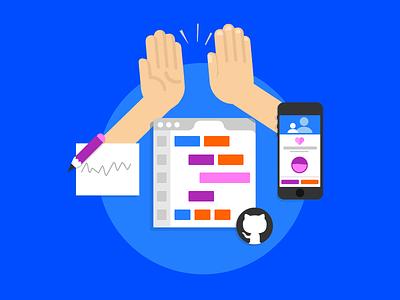 Team work & high fives  sketch browser hands github mobile code five high work team