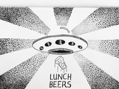 Lunch beers got me like 🤪 design paper pen typography sketch lettering ufo beer