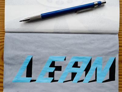 3D letter lean test. shadow 3d drawing sketch typography lettering