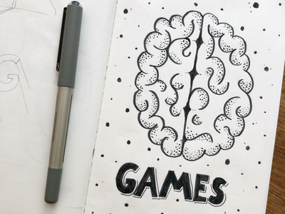 Mind games 🙃 pen dots freehand paper games typography lettering brain mind
