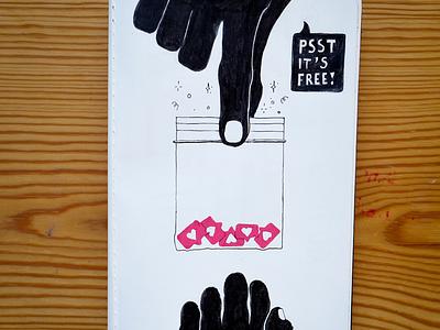 Hooked on social? dealer speech bubble drugs bags hearts hands paper pen instagram illustration
