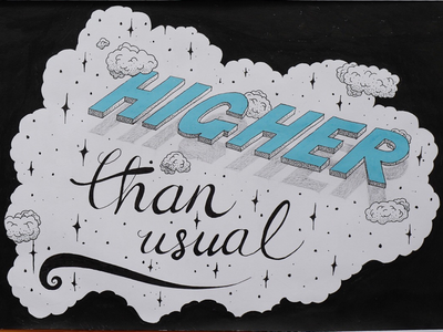 Take me to higher ground 🙏🏻 practice typography type script stars dropshadow clouds pencil handdrawn drawing sketchy sketch