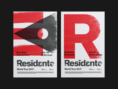 Residente Tour Posters 2017 helvetica red hiphop branding poster latin residente