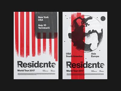 Residente Tour Posters 2017 illustration logo branidng brandign stationry helvetica latin music hiphop poster tour