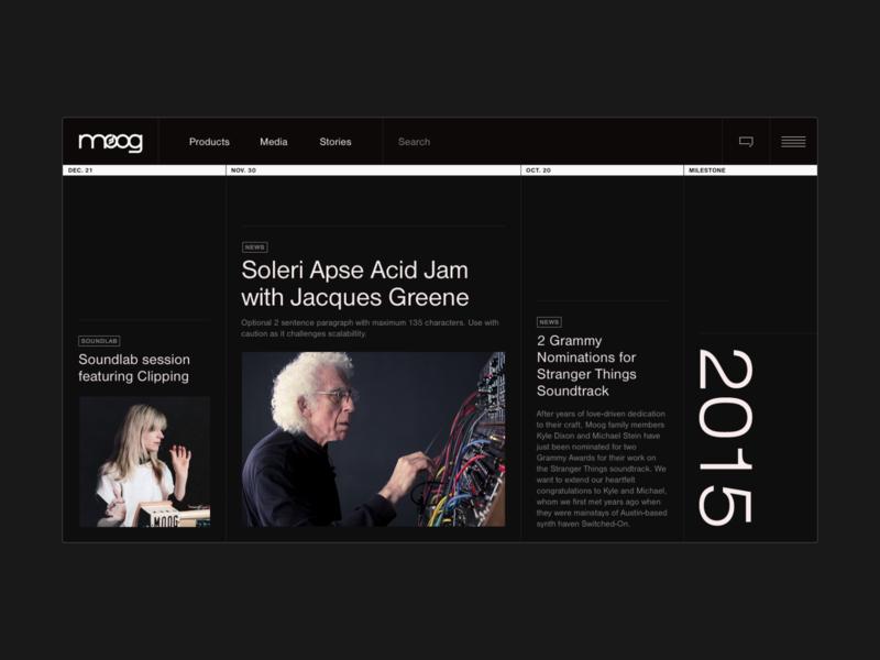 Moog Timeline timeline design horisontal timeline design black ui webdesign web hello monday uiux
