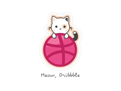 Meow, Dribbble illustration hello sticker cat