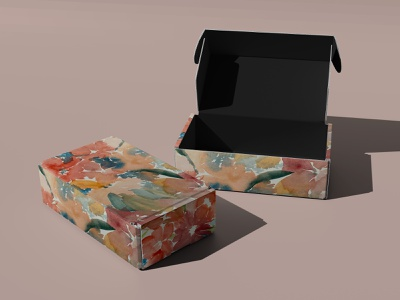 Watercolor packaging loss flower packaging box watercolor pattern