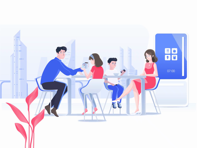 Breakfast In Tomorrowland 60fps illustration animation vector motion graphic motion explainervideo technology kitchen dining room dining perspective futuristic meal breakfast daughter son mother father family