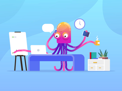 Tasks Were (Ten)Tackled loop animation vibrant flat design gradient animation 60fps motiongraphics motion explainervideo explainer vector tentacles octopus high quality free vector free illustration asset graphic illustration vector illustration