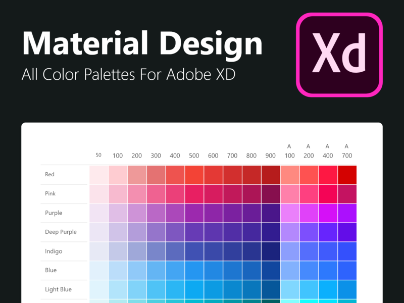 Adobe XD Freebie - All Material Designed Color Palettes by