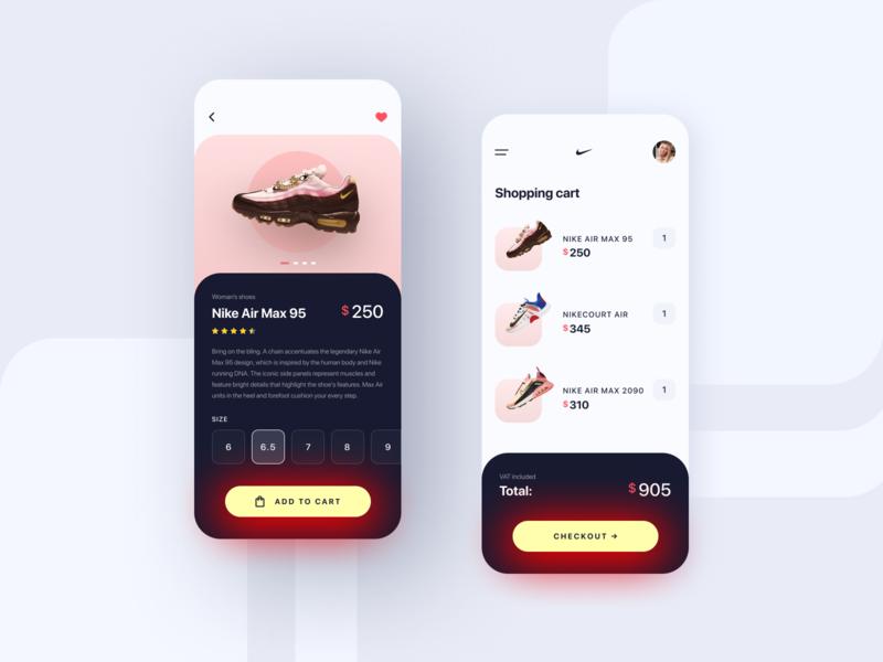 Nike • Store App Concept shoe sneaker nike air mobile app design app shoes nike shoes mobile design mobile app mobile uxui ux sport sneakers store shop nike trends design ui