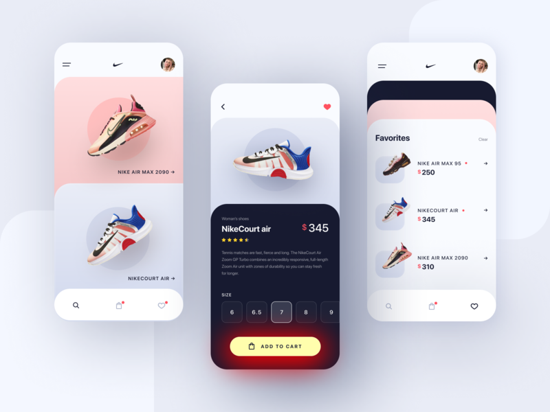 Nike • Store App Concept button sport shoes nike shoes nike store app store design shop store ux mobile design mobile app mobile gradient trends design ui