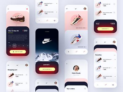 Nike • Store App Concept branding app shoes nike order sneaker shoe store shop ux button mobile design mobile mobile app gradient trends design ui