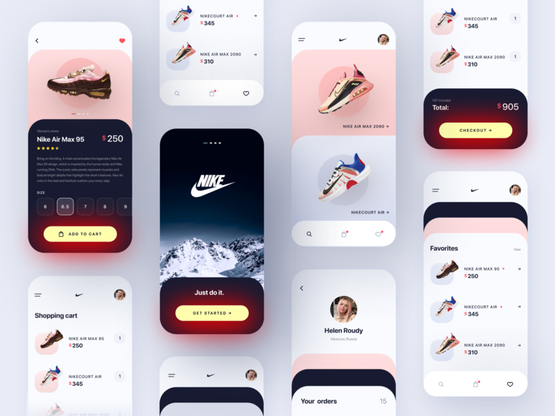 Nike • Store App Concept branding app shoes nike order sneaker shoe store shop ux button mobile design mobile mobile app gradient trends design ui