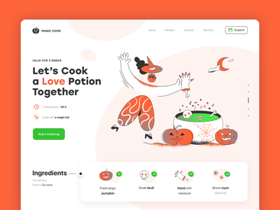 Happy Halloween 2020 dribbbleweeklywarmup landing web spooky love moon potion celebrate scary pumpkin witch poison cook helloween illustration button ux trends design ui