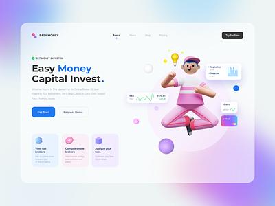 Trade Website webdesign website web design graphic capital money idea 3d trade invest button web ux trends design ui