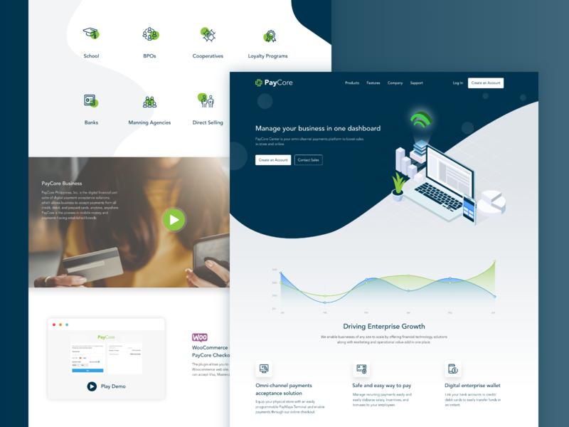 PayCore adobexd ui ux design ui  ux uiux uidesign landing page