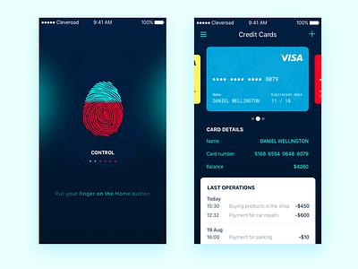 Bank App Concept fingerprint transition credit card bank card ios security scanner finger scanner login