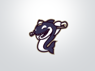 [ SELL ] Orca Baseball Mascot bat whale angler sport shark orca baseball game graphics games mascot gaming badge emblem team logo sports esports