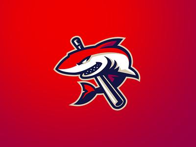[ SELL ] Baseball Shark Logo logos character graphicsdesign ovoz graphicscancer fish orca shark baseball game graphics games mascot gaming badge emblem team logo sports esports