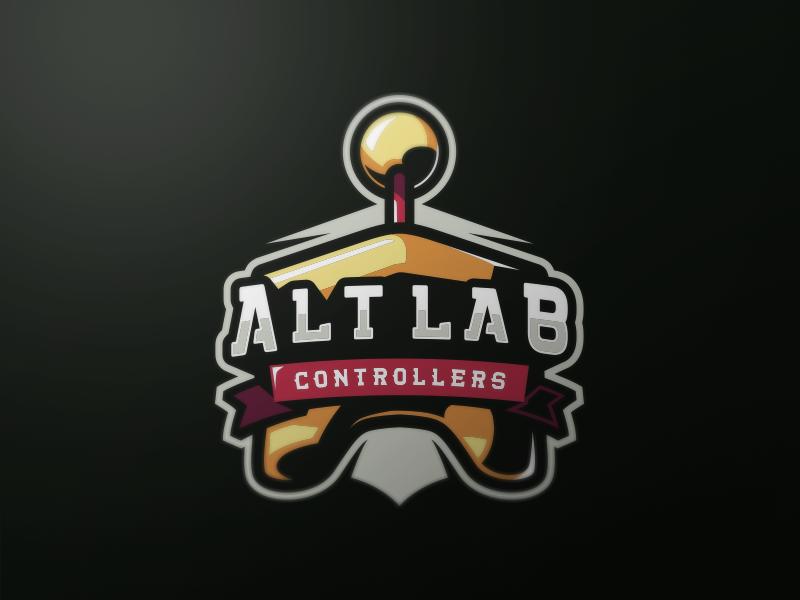 Alt Lab Controllers joystick controller games gaming school old mascot badge logo team sports esports