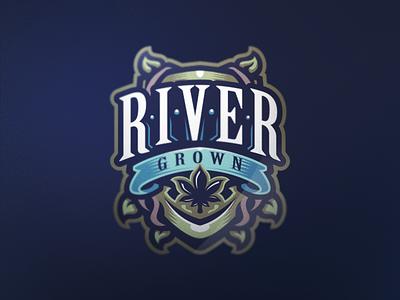 River Grown cannabis vineyard vintage taps retro pub logo emblem craft brew beer ale