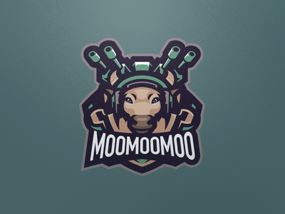 Moomoomoo punk steampunk gun bull cow design illustration graphics game games mascot gaming badge emblem logo team sports esports