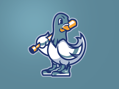 [ SOLD ] Pigeon's Baseball Mascot Logo football nfl baseball illustration gaming games graphics mascot emblem badge logo team sports esports