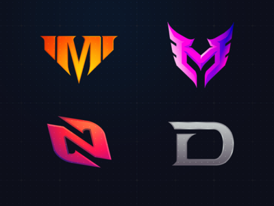 4 Initial Logo E Sports Team initial twitch stream sport d m n gameshow games gaming esportlogo mark type letter sports esports