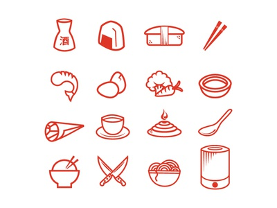 Hibachi Icons japan japanese steakhouse sushi hibachi restaurant icons chopsticks sake nigiri sashimi temaki tekkamaki eggs vegetables miso spoon knives shrimp tea