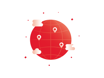 Anywhere You Go planet earth globe pin clouds anywhere vector illustration minimal geolocation