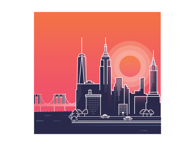 Manhattan Sunrise sunrise microsoft nyc manhattan taxi illustration minimal vector empire state building freedom tower brooklyn bridge chrysler building