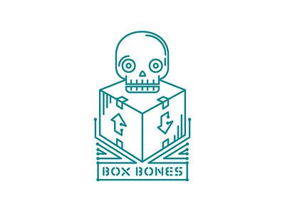 Box Bones circuit board circuits box skull vector illustration stroke minimal logo hackathon