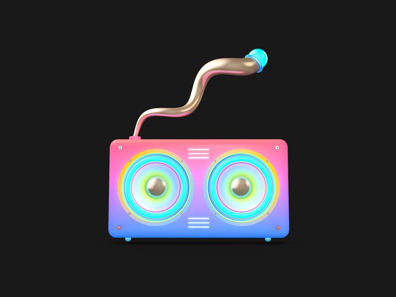 Old school jams cinema 4d weeklyillochallenge icon minimal abstract illustration gradient neon music radio bright stereo