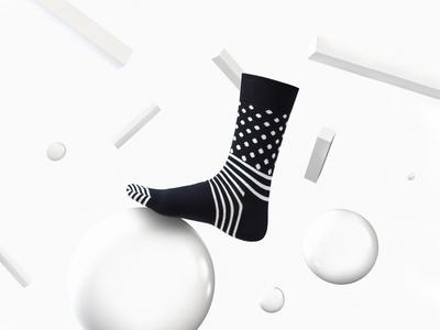 Happy Socks black and white still life socks photoshoot geometric fashion editorial cinema 4d apparel 3d happy socks