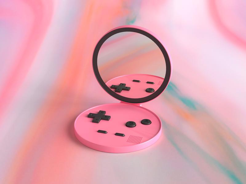 Gamegirl makeup pastel prints 90s retro tech nintendo gameboy cinema 4d 3d