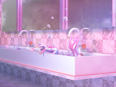 Cleanse hands bubbles interior interior design surreal pastel prints iridescent cinema 4d 3d