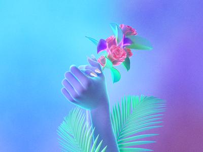 💐 tropical cyber synth flowers rose digital neon 3d maxon cinema 4d