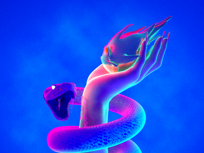 💉 dragonfruit hand venom snake neon 3d maxon cinema 4d