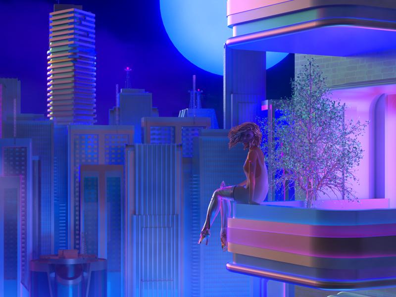 💫 matte painting concept art skyline cityscape city iridescent night neon 3d maxon cinema 4d