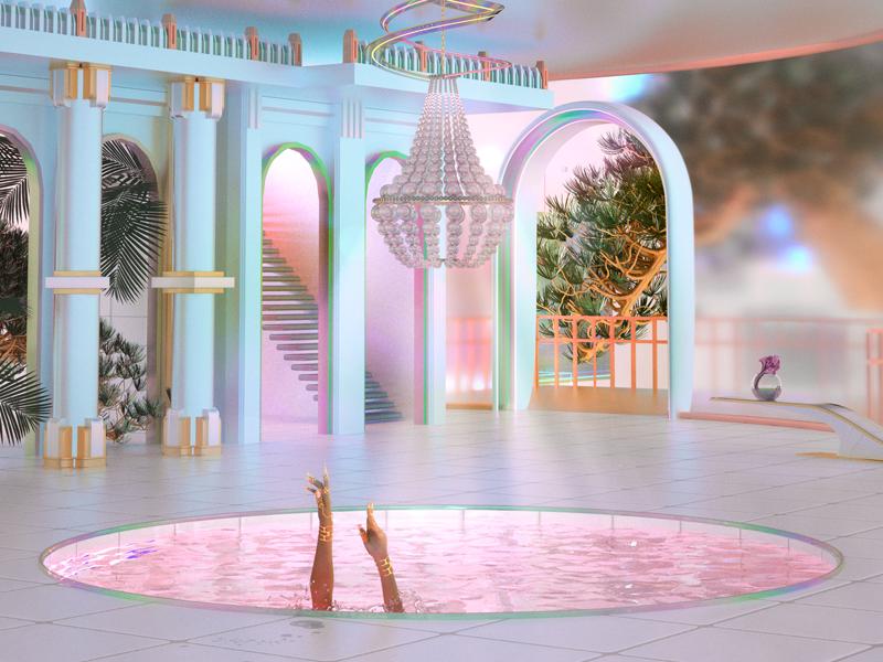 Nu Gaudy ornate gaudy architecture interior concept surreal pastel iridescent cinema 4d 3d