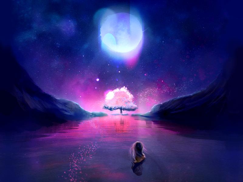 ☽ ☾ neon matte painting night cherry blossom moonlight moon digital painting