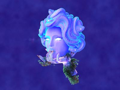 Nethology snake purple stare net mythology medusa cyber digital 3d maxon cinema 4d