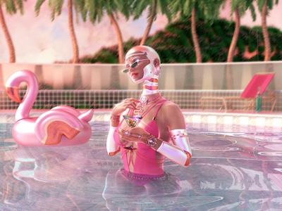 🍸 retrofuture pink summer flamingo cyborg android scifi futuristic digital cinema 4d 3d